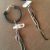 Small Leather Quartz & Chains Hoop Earrings