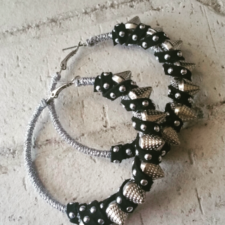 Medium Silver Spiked Hoops