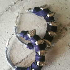 Small Purple Leather Spiked Hoops