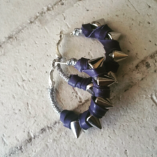 Tiny Purple Leather Spiked Hoops