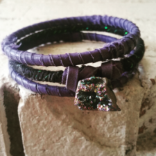 Purple Leather Rock Bangle Set