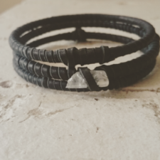 Black Leather & Quartz Bangle Set